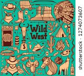 dark wild west set. collection... | Shutterstock .eps vector #1274073607