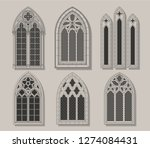 vector set of medieval castle... | Shutterstock .eps vector #1274084431
