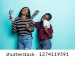 portrait of two african girls... | Shutterstock . vector #1274119591