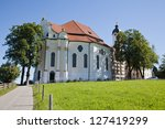 Small photo of The Pilgrimage Church of Wies (Wieskirche) in Bavaria, Germany. it is a rococo church built between 1745 and 1754 to house a wooden statue of the Scourged Saviour.