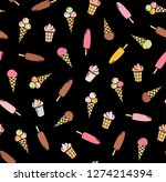 color flat drawings on a black... | Shutterstock .eps vector #1274214394
