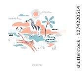 decorative orange and navy blue ... | Shutterstock .eps vector #1274220514