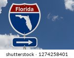 road trip to florida  red ...   Shutterstock . vector #1274258401