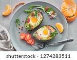keto diet dish  baked avocado... | Shutterstock . vector #1274283511
