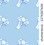 broccoli pattern. broccoli... | Shutterstock .eps vector #1274307634