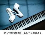 White Wedding Shoes Of Bride O...