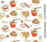 chinese food seamless pattern | Shutterstock .eps vector #127435925