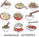 asian food set vector...   Shutterstock .eps vector #127435931