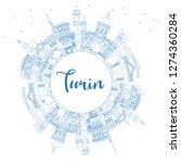 outline turin italy city... | Shutterstock .eps vector #1274360284