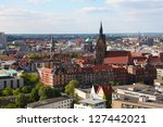 Stock photo view from the new town hall on the market church and old houses in the center of hannover lower 127442021