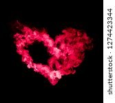 Heart Shape From Red Smoke...