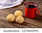 cheese bread balls and black... | Shutterstock . vector #1274442991