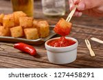 tapioca squares and pepper jelly | Shutterstock . vector #1274458291
