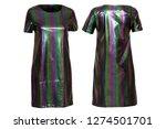 green shiny stripped dress   Shutterstock . vector #1274501701