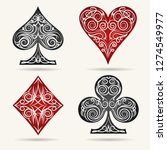 ornamental playing card suits... | Shutterstock . vector #1274549977