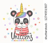 unicorn panda girl face. i... | Shutterstock .eps vector #1274551507