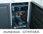 built in dishwasher with open... | Shutterstock . vector #1274551831