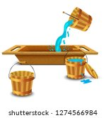 the old wooden washtub for... | Shutterstock .eps vector #1274566984