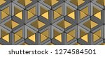 Stock photo  d tiles gray rhombuses and matte gold triangles with gold decor sphere elements high quality 1274584501