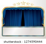 vector wide stage with blue... | Shutterstock .eps vector #1274590444