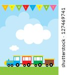 happy holiday train message | Shutterstock .eps vector #127469741