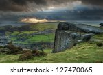 Sunbeams Over Big Moor In Peak...