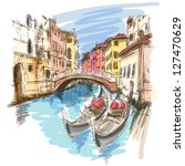 antigua,arquitectura,arquitectura,arte,barco,puente,edificio,canal,ciudad,paisaje urbano,fachada,góndola,gondolero,histórico,historia