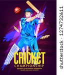 cricket with batsman playing... | Shutterstock .eps vector #1274732611