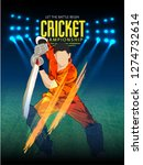 cricket with batsman playing... | Shutterstock .eps vector #1274732614