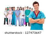 smiling surgeon with medical... | Shutterstock . vector #127473647