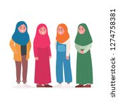 group of young muslim woman... | Shutterstock .eps vector #1274758381