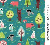 Stock vector cute animals seamless pattern 127477121