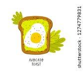 avocado toast. hand drawn... | Shutterstock .eps vector #1274779831