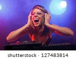 excited dj girl on decks on the ... | Shutterstock . vector #127483814