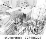 building in x ray view  with... | Shutterstock . vector #127486229