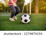 little boy having fun playing a ... | Shutterstock . vector #1274874154