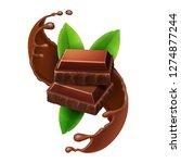 pieces of chocolate in sweet... | Shutterstock .eps vector #1274877244
