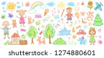 child drawings. kids doodle... | Shutterstock .eps vector #1274880601