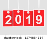2019 new year on hanging red... | Shutterstock . vector #1274884114