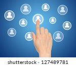 Hand pressing virtual social media button - stock photo