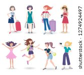 vector set with isolated women... | Shutterstock .eps vector #1274924497