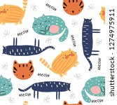 seamless pattern with funny... | Shutterstock .eps vector #1274975911