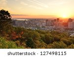montreal at dusk with urban... | Shutterstock . vector #127498115
