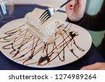 Meringue Cake At Restaurant...