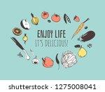 hand drawn illustration veggies ...   Shutterstock .eps vector #1275008041