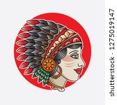 indian girl head flash tattoo ... | Shutterstock .eps vector #1275019147