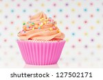Pink Cupcake With Whipped Crea...