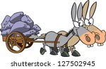 A vector illustration of two cartoon mules pulling a heavy cart - stock vector