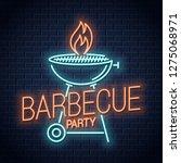 barbecue grill neon logo. bbq... | Shutterstock .eps vector #1275068971