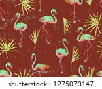 large flamingo hipster red... | Shutterstock . vector #1275073147